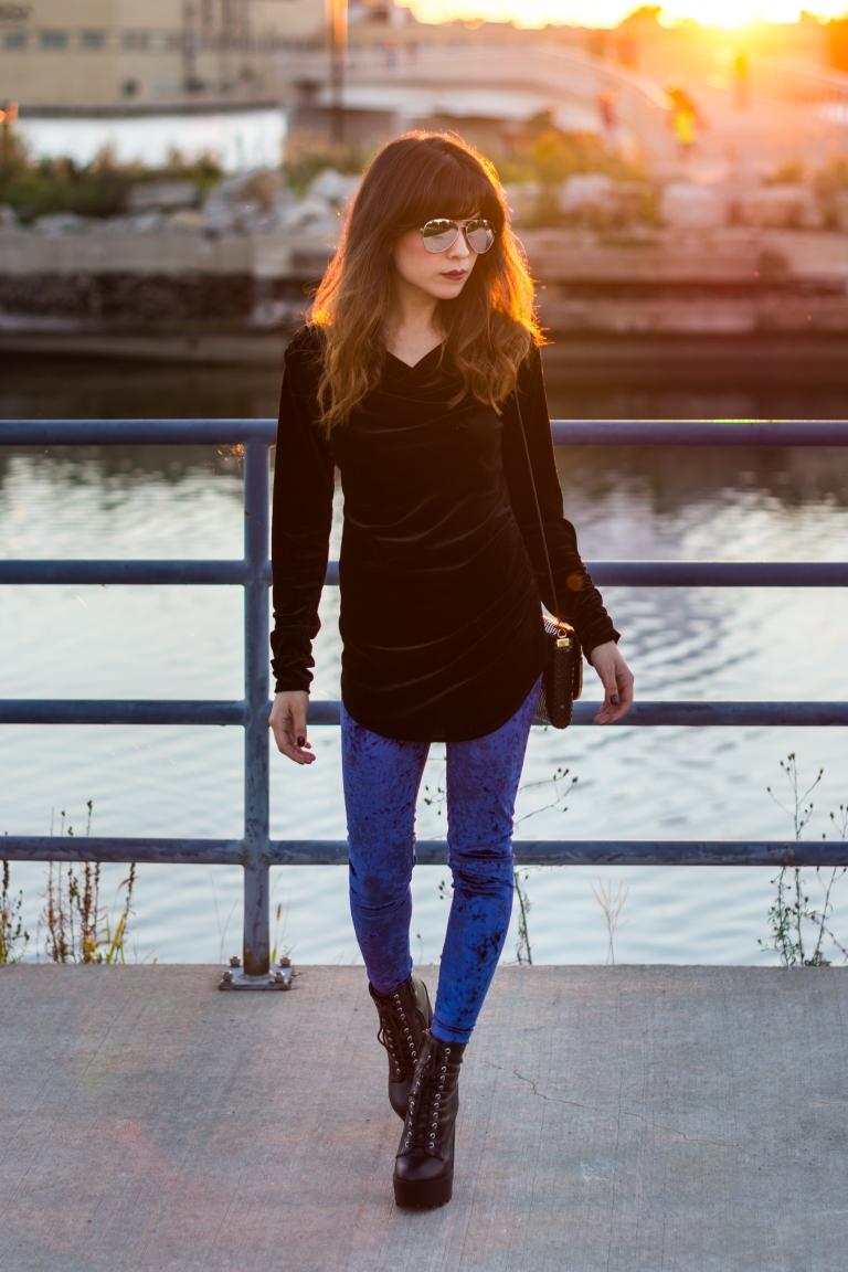 velvet outfit blue